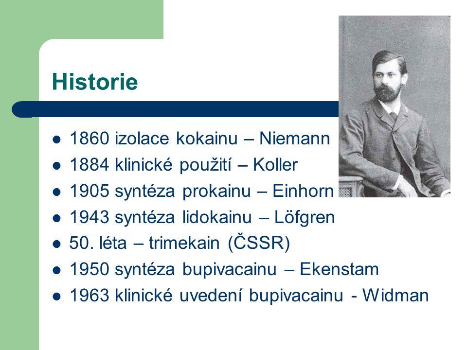 Historie 1860 izolace kokainu – Niemann 1884 klinické použití – Koller 1905 syntéza prokainu – Einhorn 1943 syntéza lidokainu – Löfgren 50. léta – tri