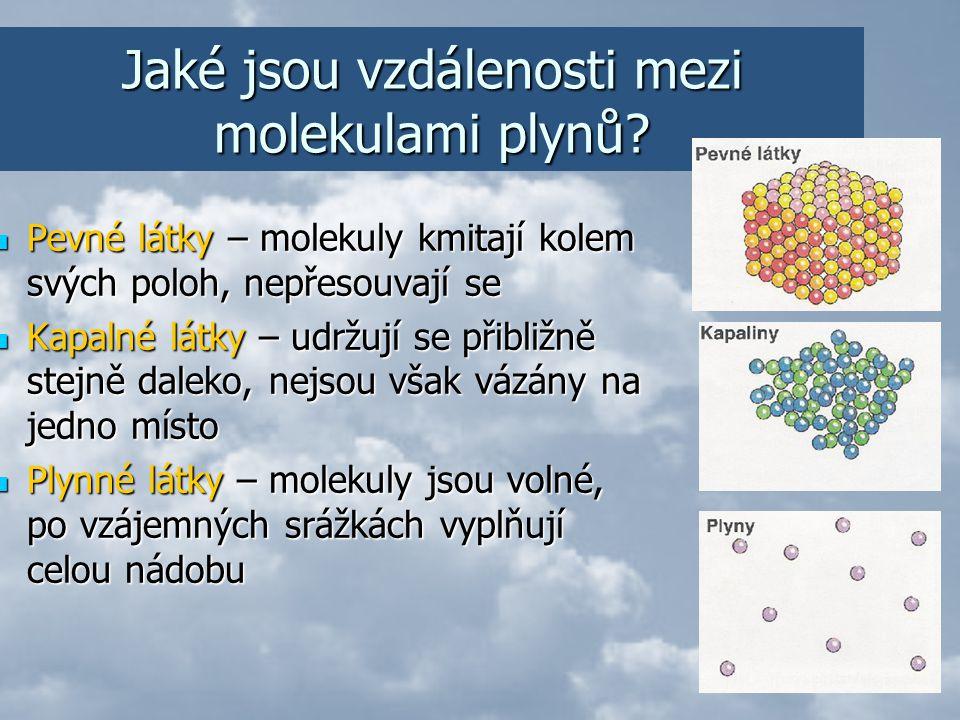Pohyb molekul plynů Molekuly se neustále neuspořádaně pohybují Srážejí se s jinými molekulami Narážejí na stěny nádoby – jejich vzdálenosti se mění