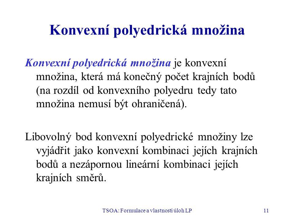 TSOA: Formulace a vlastnosti úloh LP11 Konvexní polyedrická množina Konvexní polyedrická množina je konvexní množina, která má konečný počet krajních