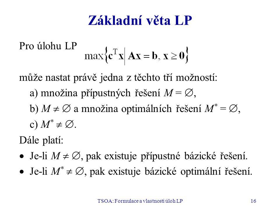 TSOA: Formulace a vlastnosti úloh LP16 Základní věta LP Pro úlohu LP může nastat právě jedna z těchto tří možností: a) množina přípustných řešení M =