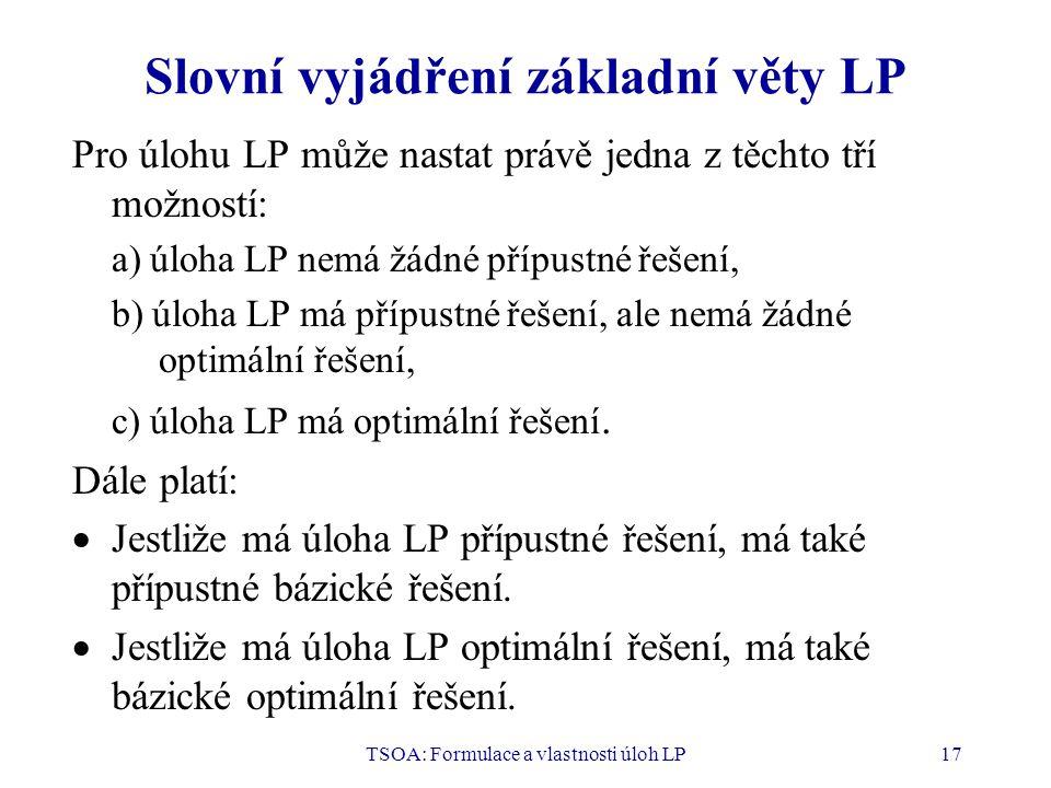 TSOA: Formulace a vlastnosti úloh LP17 Slovní vyjádření základní věty LP Pro úlohu LP může nastat právě jedna z těchto tří možností: a) úloha LP nemá