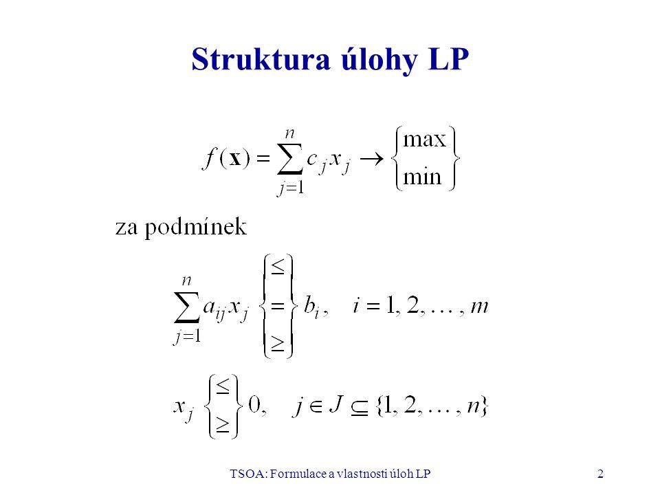 TSOA: Formulace a vlastnosti úloh LP3 Standardní tvar úlohy LP v maticových vyjádřeních a) b) Matice A je typu (m, n), b je typu (m, 1), c je typu (n, 1), x je typu (n, 1).