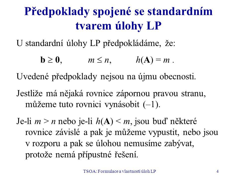 TSOA: Formulace a vlastnosti úloh LP4 Předpoklady spojené se standardním tvarem úlohy LP U standardní úlohy LP předpokládáme, že: b  0,m  n,h(A) = m