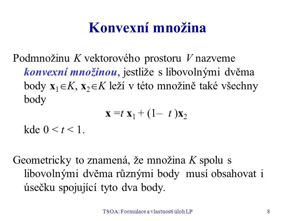 TSOA: Formulace a vlastnosti úloh LP9 Konvexní kombinace vektorů Nechť x 1, x 2, …, x n jsou vektory z vektorového prostoru V a t 1, t 2, …, t n jsou reálná čísla taková, že a)t i  0, i = 1, 2, …, n b) t 1 + t 2 + … + t n = 1 Pak vektor x = t 1 x 1 + t 2 x 2 + … + t n x n se nazývá konvexní kombinací vektorů x 1, x 2, …, x n.