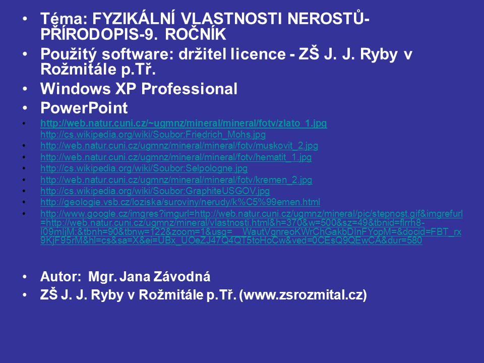 Téma: FYZIKÁLNÍ VLASTNOSTI NEROSTŮ- PŘÍRODOPIS-9. ROČNÍK Použitý software: držitel licence - ZŠ J. J. Ryby v Rožmitále p.Tř. Windows XP Professional P