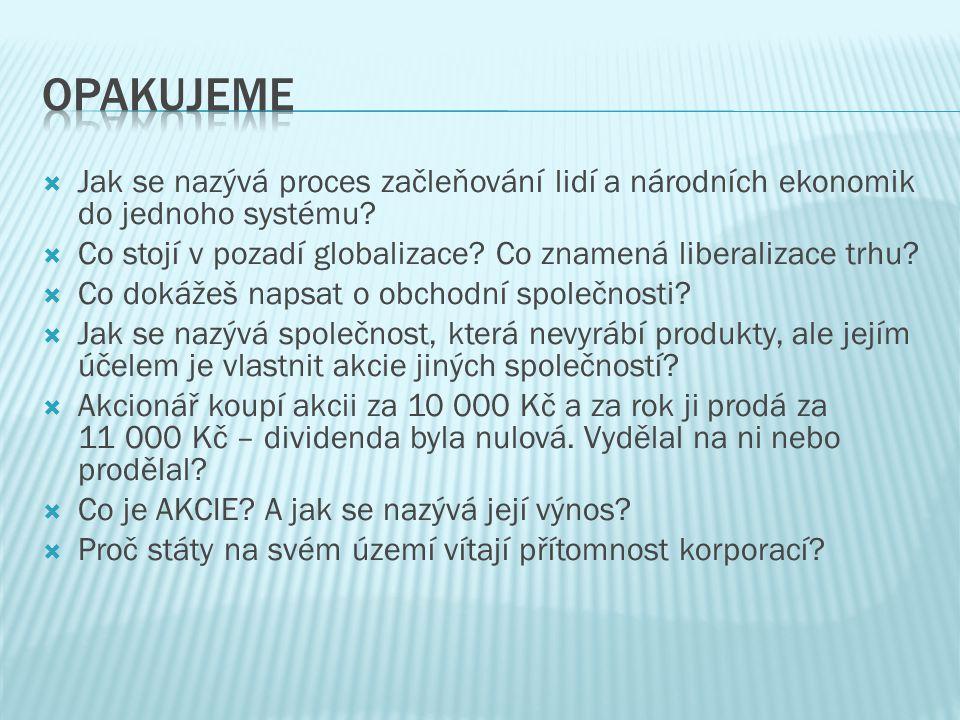  Jak se nazývá proces začleňování lidí a národních ekonomik do jednoho systému?  Co stojí v pozadí globalizace? Co znamená liberalizace trhu?  Co d