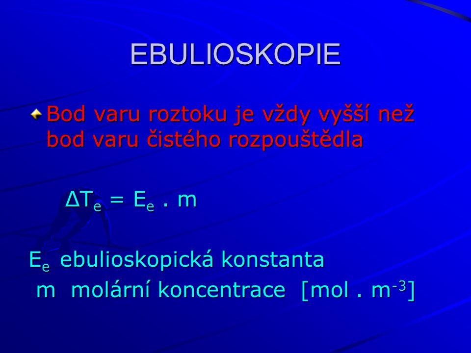 EBULIOSKOPIE Bod varu roztoku je vždy vyšší než bod varu čistého rozpouštědla ΔT e = E e. m ΔT e = E e. m E e ebulioskopická konstanta m molární konce