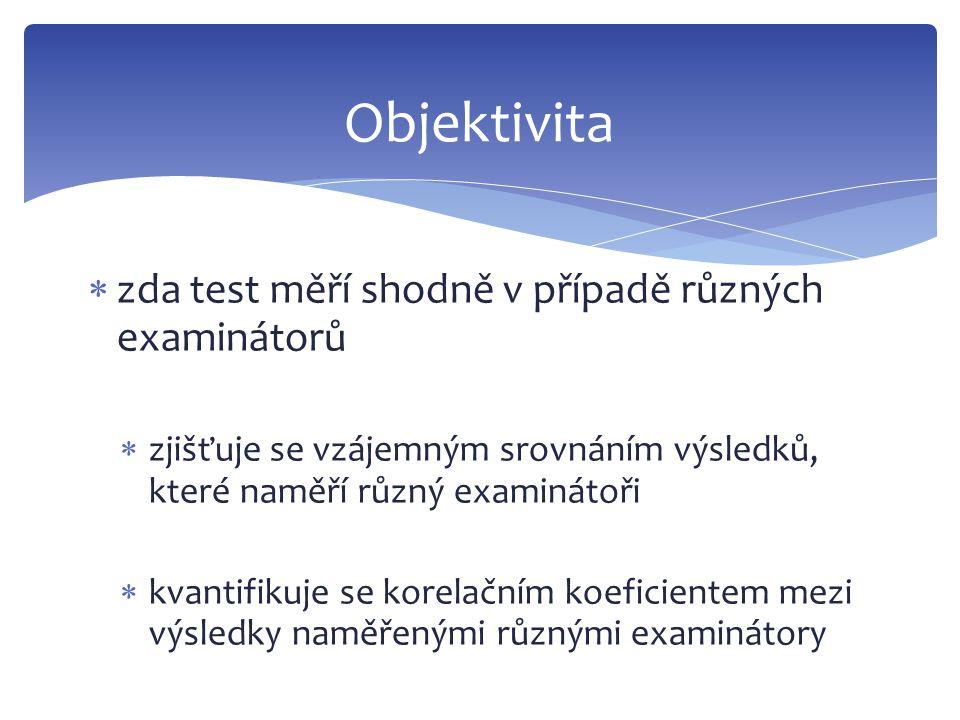  zda test měří shodně v případě různých examinátorů  zjišťuje se vzájemným srovnáním výsledků, které naměří různý examinátoři  kvantifikuje se kore