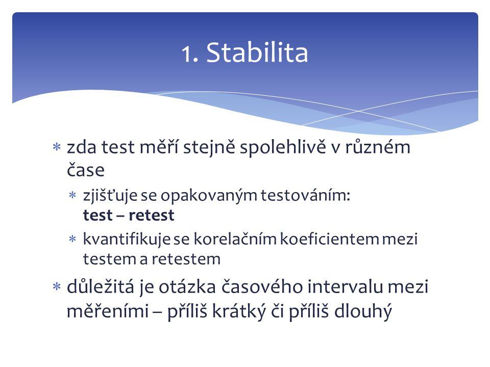  zda test měří stejně spolehlivě v různém čase  zjišťuje se opakovaným testováním: test – retest  kvantifikuje se korelačním koeficientem mezi test