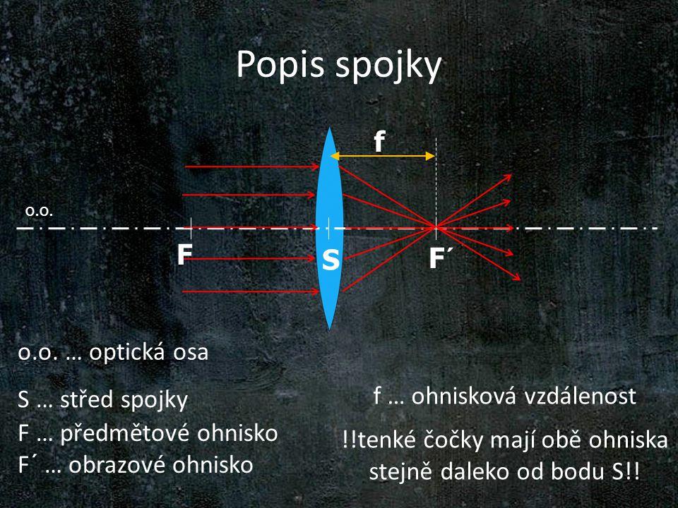 Popis spojky o.o. S o.o. … optická osa S … střed spojky F´ f f … ohnisková vzdálenost !!tenké čočky mají obě ohniska stejně daleko od bodu S!! F … pře