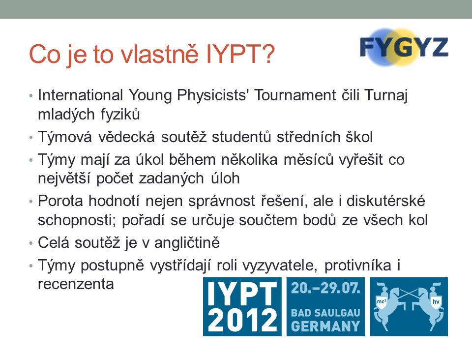 Co je to vlastně IYPT? International Young Physicists' Tournament čili Turnaj mladých fyziků Týmová vědecká soutěž studentů středních škol Týmy mají z