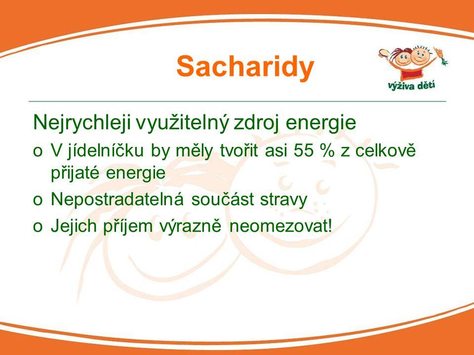 Sacharidy Nejrychleji využitelný zdroj energie oV jídelníčku by měly tvořit asi 55 % z celkově přijaté energie oNepostradatelná součást stravy oJejich