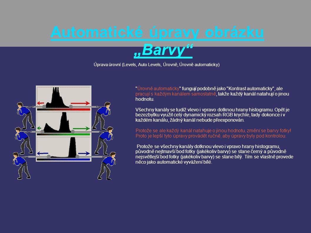 """Automatické úpravy obrázku """"Barvy"""" Úprava úrovní (Levels, Auto Levels, Úrovně, Úrovně automaticky)"""