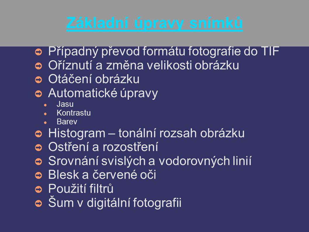 Konverze do formátu TIF ➲ Konverze do formátu TIF ● Je to formát, kde při ukládání nedochází ke komprimaci, tedy ke ztrátám informací ● Pokud bychom ukládali v JPEG, při každém uložení by došlo ke kompresi a ztrátě informací (viz.