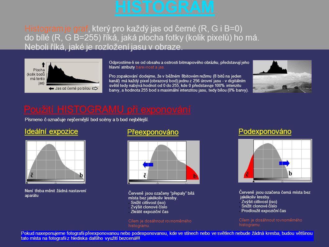HISTOGRAM Histogram je graf, který pro každý jas od černé (R, G i B=0) do bílé (R, G B=255) říká, jaká plocha fotky (kolik pixelů) ho má. Neboli říká,