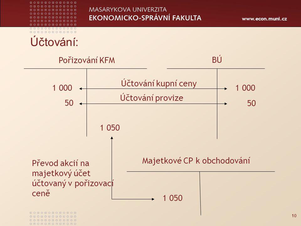 www.econ.muni.cz Účtování: 10 Pořizování KFM BÚ Majetkové CP k obchodování 1 000 50 1 050 Účtování kupní ceny Účtování provize Převod akcií na majetkový účet účtovaný v pořizovací ceně