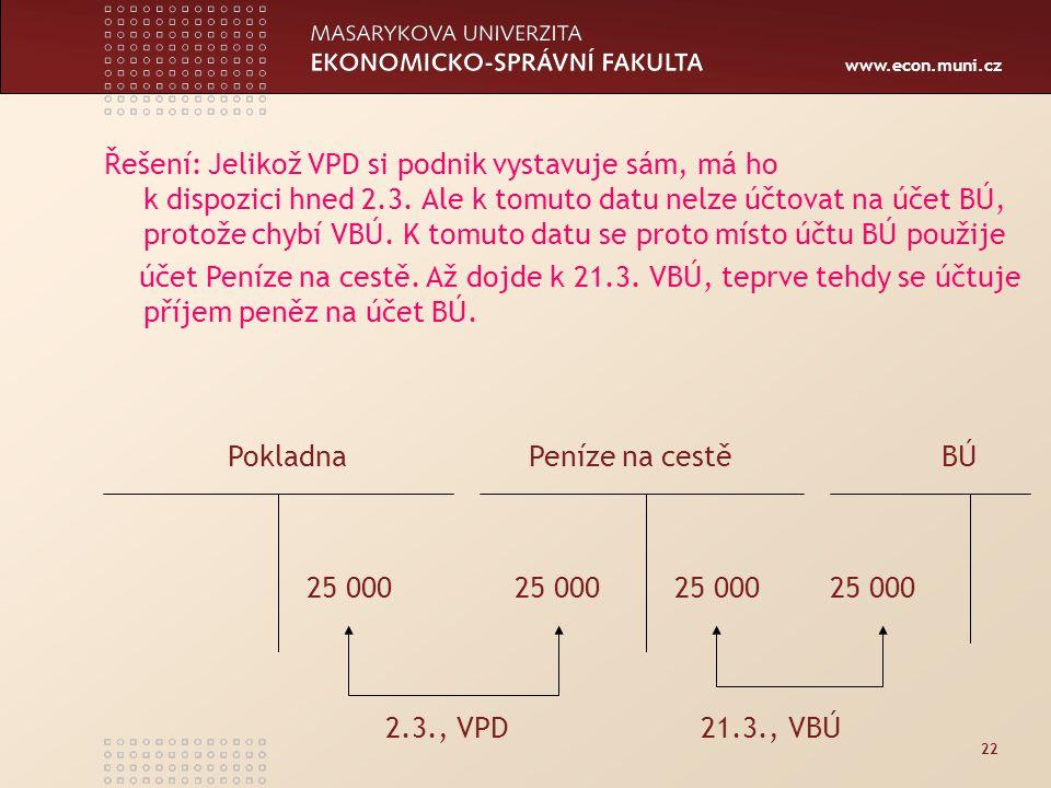 www.econ.muni.cz 22 Řešení: Jelikož VPD si podnik vystavuje sám, má ho k dispozici hned 2.3.