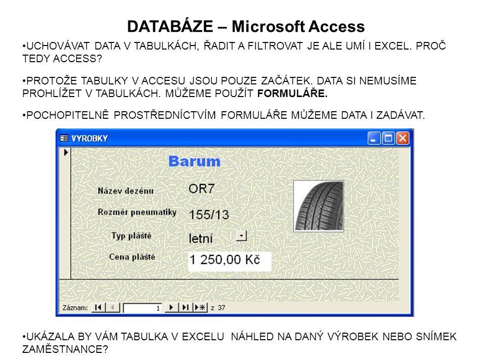DATABÁZE – Microsoft Access POCHOPITELNĚ PROSTŘEDNÍCTVÍM FORMULÁŘE MŮŽEME DATA I ZADÁVAT.