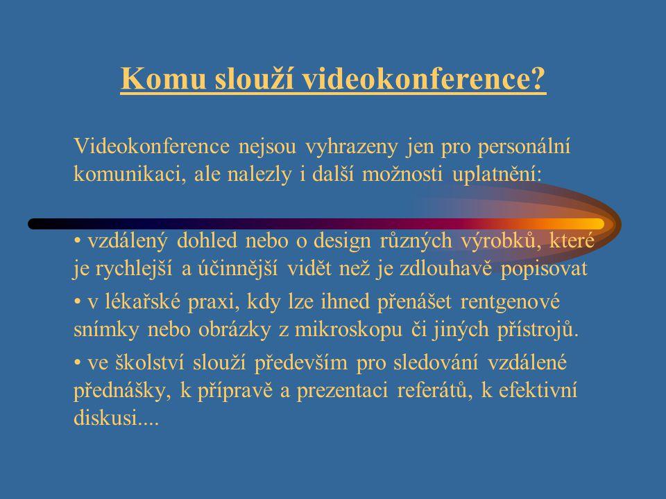 Typy videokonferencí ISDN videokonference, jakožto koncová zařízení, lze typicky rozdělit do třech základních skupin: a) Videotelefony b) Desktop videokonference c) Kompaktní systémy