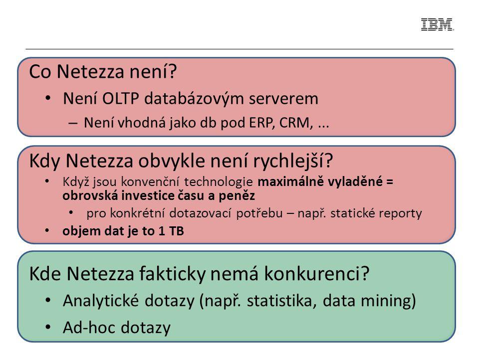 Není OLTP databázovým serverem – Není vhodná jako db pod ERP, CRM,... Co Netezza není? Kde Netezza fakticky nemá konkurenci? Analytické dotazy (např.