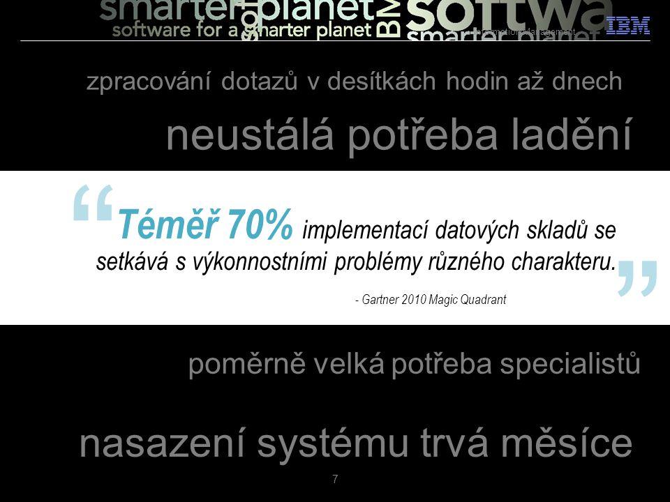 """Téměř 70% implementací datových skladů se setkává s výkonnostními problémy různého charakteru. 7 """" """" - Gartner 2010 Magic Quadrant nasazení systému tr"""