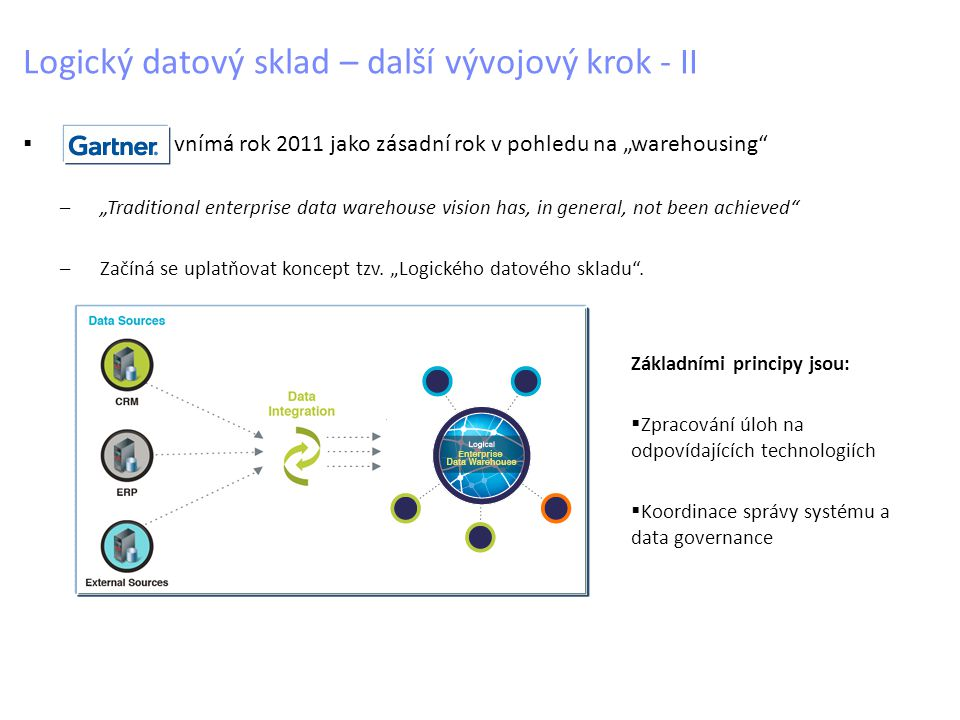 "Logický datový sklad – další vývojový krok - II  vnímá rok 2011 jako zásadní rok v pohledu na ""warehousing –""Traditional enterprise data warehouse vision has, in general, not been achieved –Začíná se uplatňovat koncept tzv."