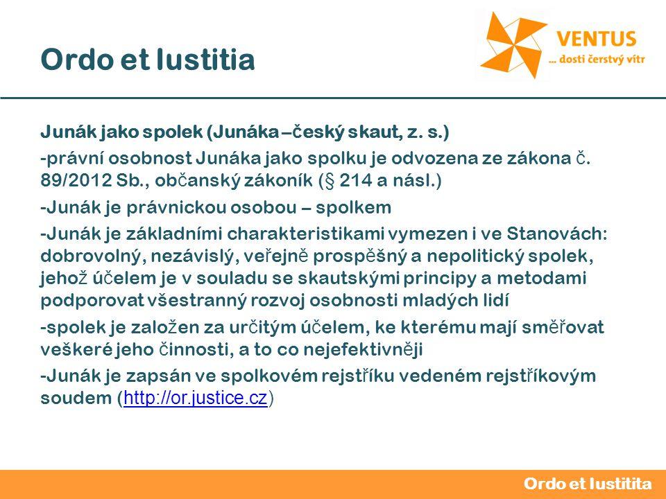 2012 / 2013 Ordo et Iustitia Junák jako spolek (Junáka – č eský skaut, z. s.) -právní osobnost Junáka jako spolku je odvozena ze zákona č. 89/2012 Sb.
