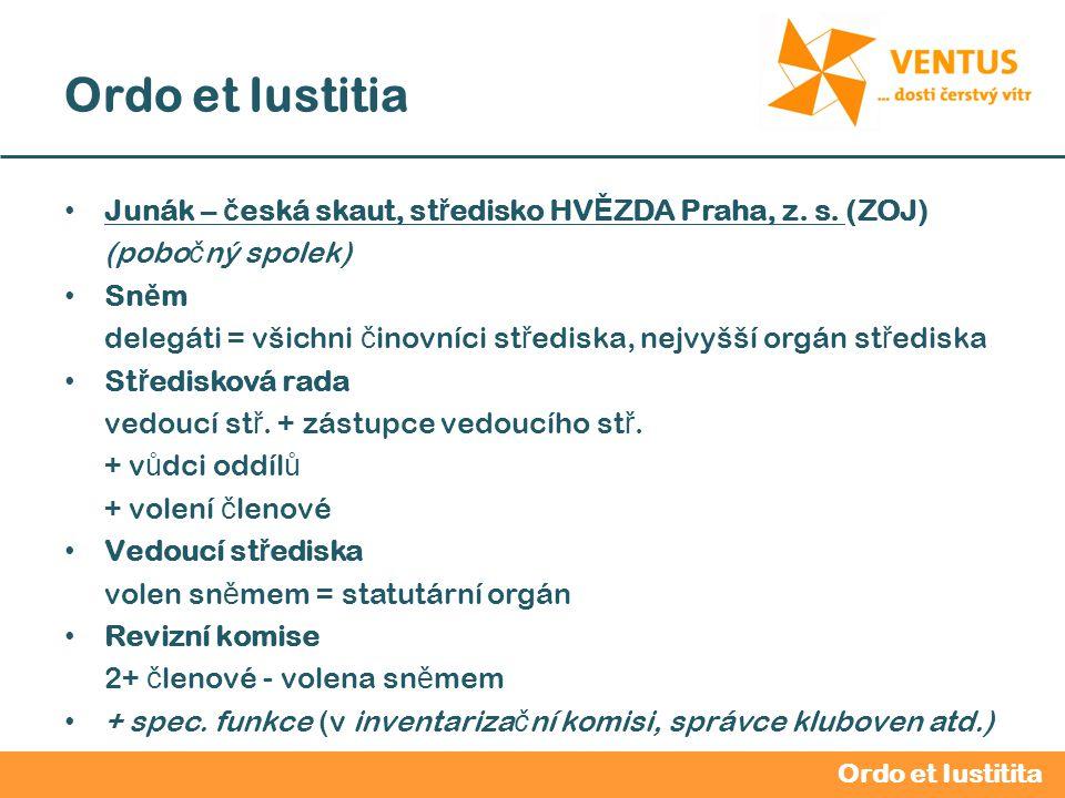 2012 / 2013 Ordo et Iustitia Junák – č eská skaut, st ř edisko HV Ě ZDA Praha, z. s. (ZOJ) (pobo č ný spolek) Sn ě m delegáti = všichni č inovníci st