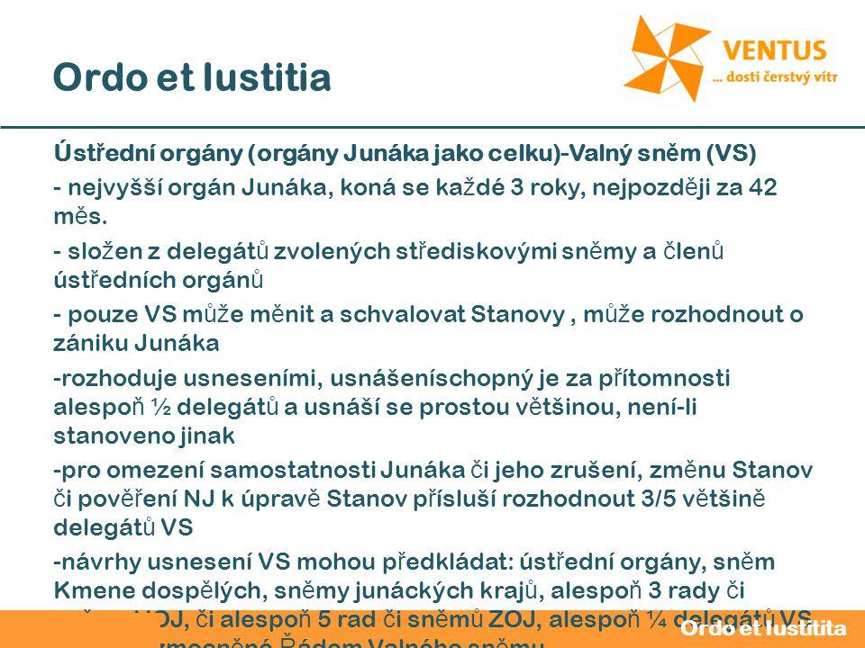 2012 / 2013 Ordo et Iustitia Úst ř ední orgány (orgány Junáka jako celku)-Valný sn ě m (VS) - nejvyšší orgán Junáka, koná se ka ž dé 3 roky, nejpozd ě ji za 42 m ě s.