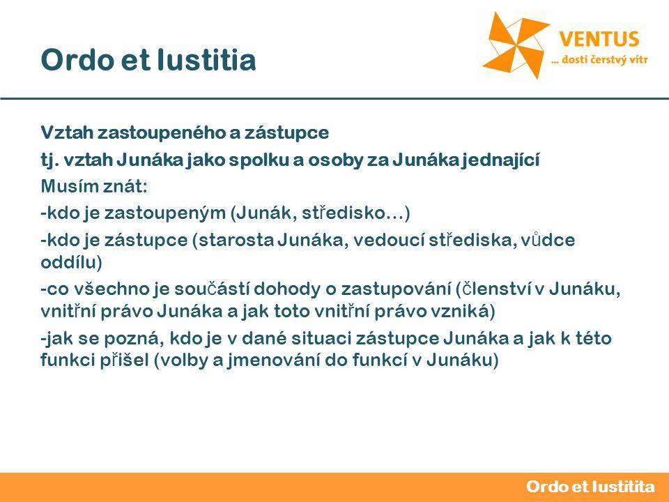2012 / 2013 Ordo et Iustitia Vztah zastoupeného a zástupce tj. vztah Junáka jako spolku a osoby za Junáka jednající Musím znát: -kdo je zastoupeným (J