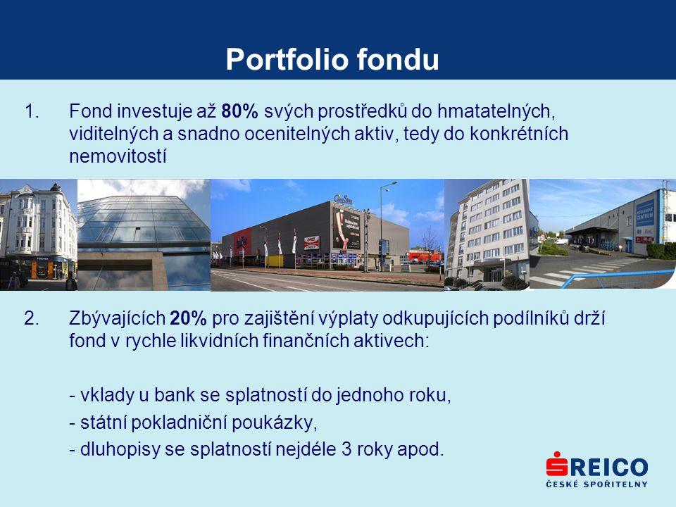 Portfolio fondu 1.Fond investuje až 80% svých prostředků do hmatatelných, viditelných a snadno ocenitelných aktiv, tedy do konkrétních nemovitostí 2.Z