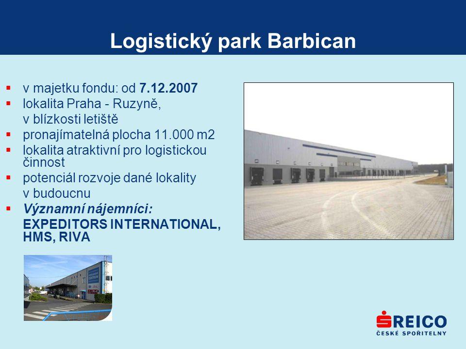 Logistický park Barbican  v majetku fondu: od 7.12.2007  lokalita Praha - Ruzyně, v blízkosti letiště  pronajímatelná plocha 11.000 m2  lokalita a