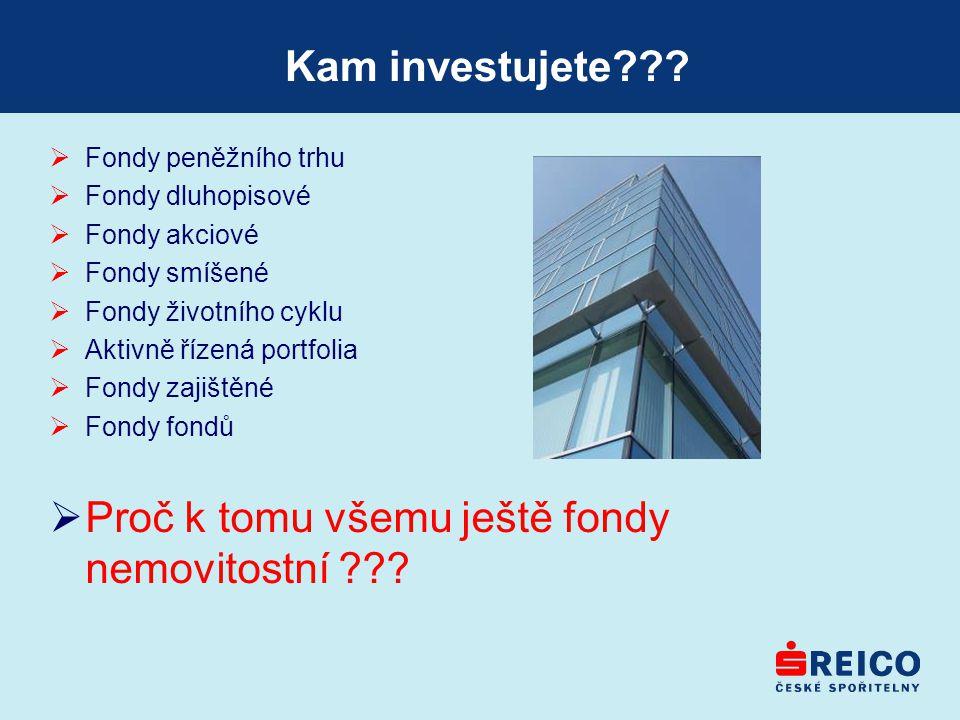 Kam investujete???  Fondy peněžního trhu  Fondy dluhopisové  Fondy akciové  Fondy smíšené  Fondy životního cyklu  Aktivně řízená portfolia  Fon