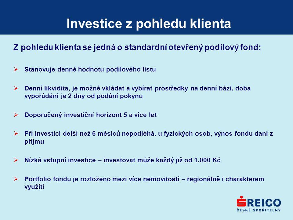 Investice z pohledu klienta Z pohledu klienta se jedná o standardní otevřený podílový fond:  Stanovuje denně hodnotu podílového listu  Denní likvidi