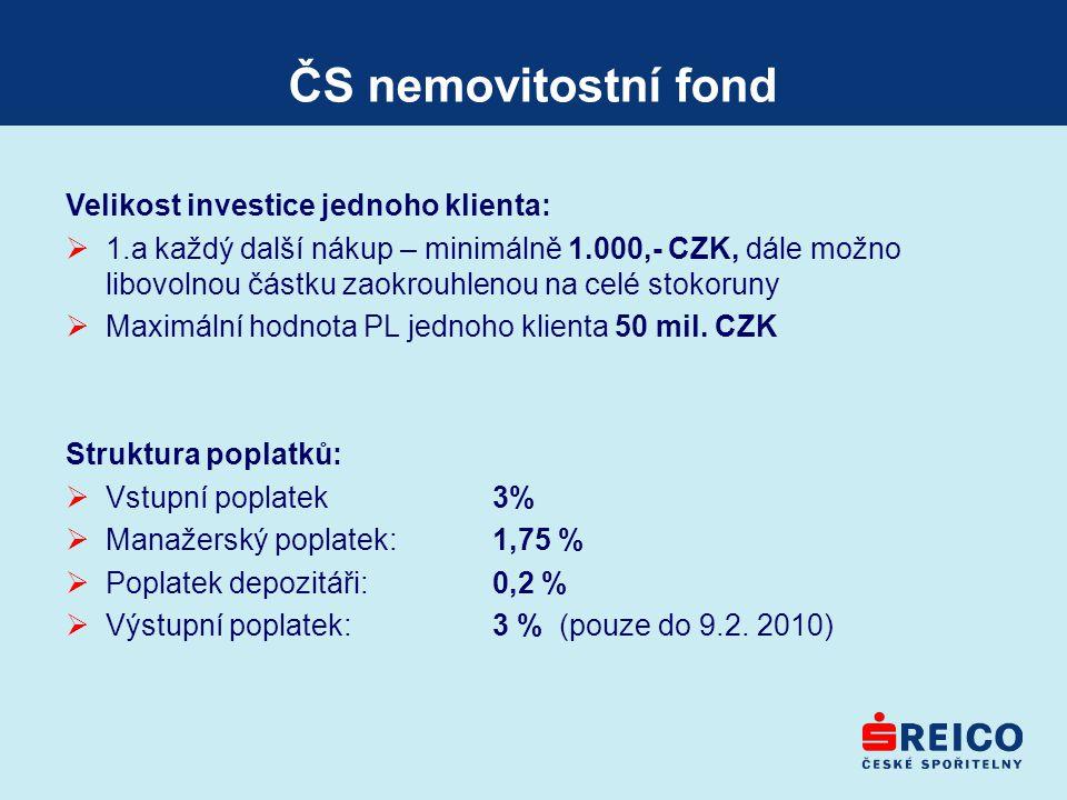 ČS nemovitostní fond Velikost investice jednoho klienta:  1.a každý další nákup – minimálně 1.000,- CZK, dále možno libovolnou částku zaokrouhlenou n