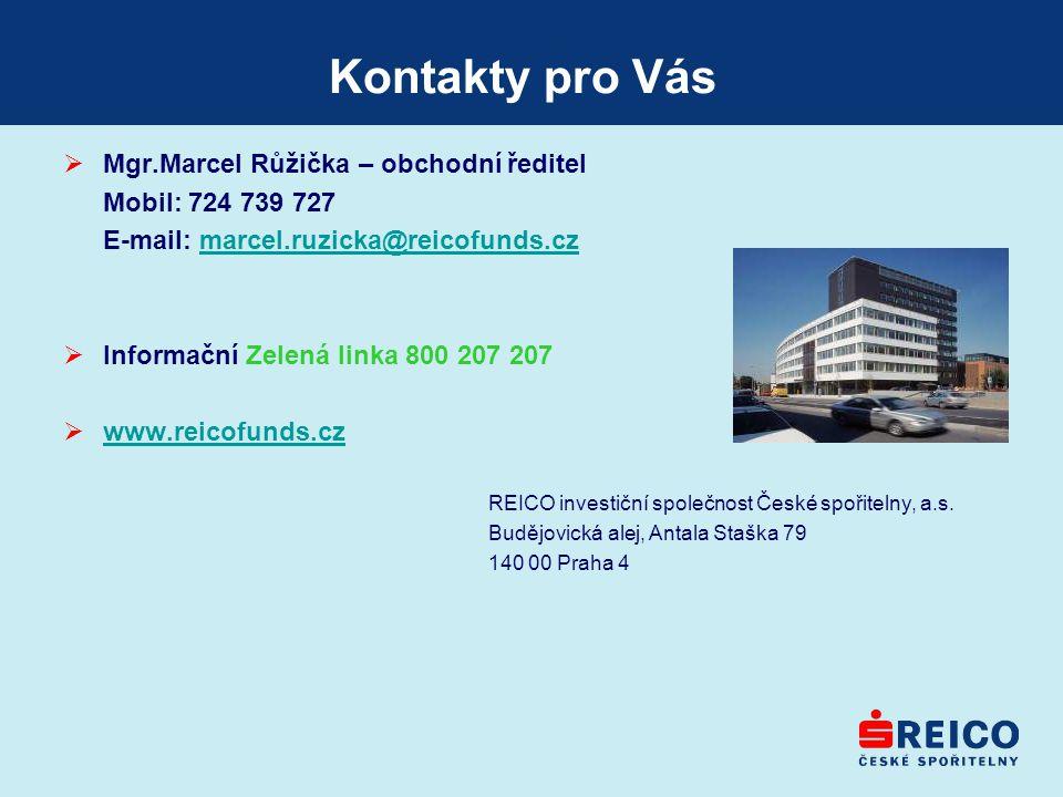 Kontakty pro Vás  Mgr.Marcel Růžička – obchodní ředitel Mobil: 724 739 727 E-mail: marcel.ruzicka@reicofunds.czmarcel.ruzicka@reicofunds.cz  Informa