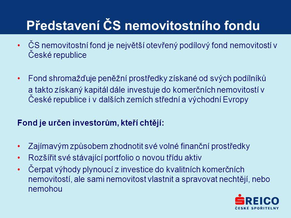 Představení ČS nemovitostního fondu ČS nemovitostní fond je největší otevřený podílový fond nemovitostí v České republice Fond shromažďuje peněžní pro