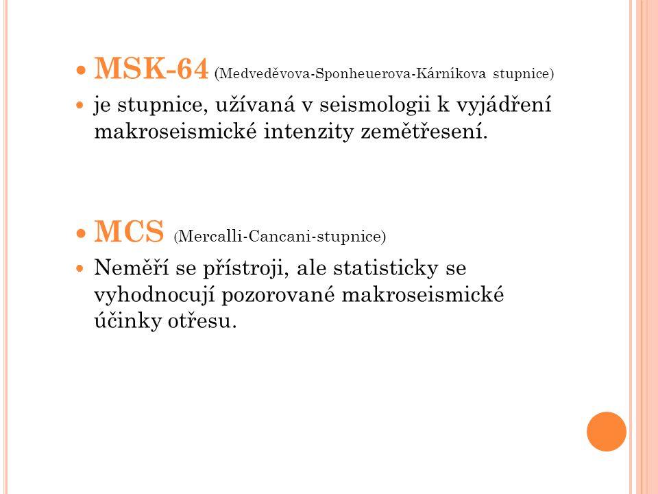 MSK-64 ( Medveděvova-Sponheuerova-Kárníkova stupnice) je stupnice, užívaná v seismologii k vyjádření makroseismické intenzity zemětřesení. MCS ( Merca