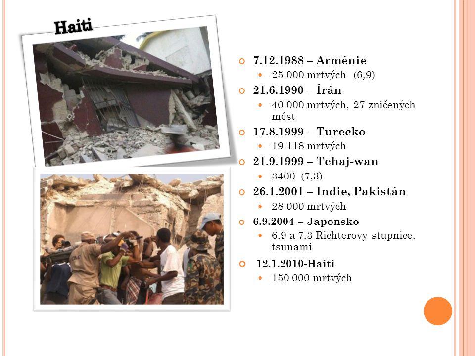 7.12.1988 – Arménie 25 000 mrtvých (6,9) 21.6.1990 – Írán 40 000 mrtvých, 27 zničených měst 17.8.1999 – Turecko 19 118 mrtvých 21.9.1999 – Tchaj-wan 3