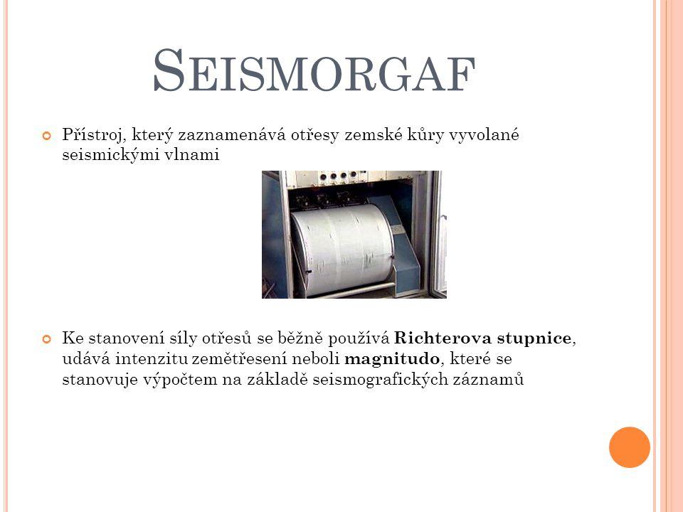 S EISMORGAF Přístroj, který zaznamenává otřesy zemské kůry vyvolané seismickými vlnami Ke stanovení síly otřesů se běžně používá Richterova stupnice,