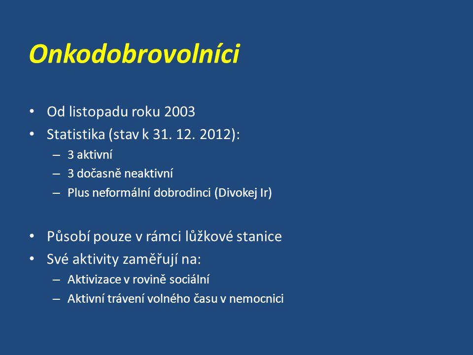 Onkodobrovolníci Od listopadu roku 2003 Statistika (stav k 31.