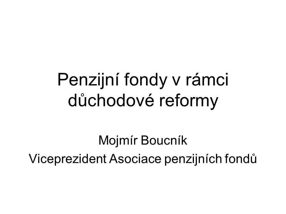 Penzijní fondy v rámci důchodové reformy Mojmír Boucník Viceprezident Asociace penzijních fondů