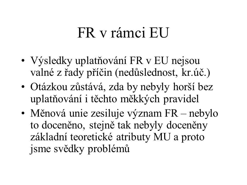 FR v rámci EU Výsledky uplatňování FR v EU nejsou valné z řady příčin (nedůslednost, kr.úč.) Otázkou zůstává, zda by nebyly horší bez uplatňování i těchto měkkých pravidel Měnová unie zesiluje význam FR – nebylo to doceněno, stejně tak nebyly doceněny základní teoretické atributy MU a proto jsme svědky problémů