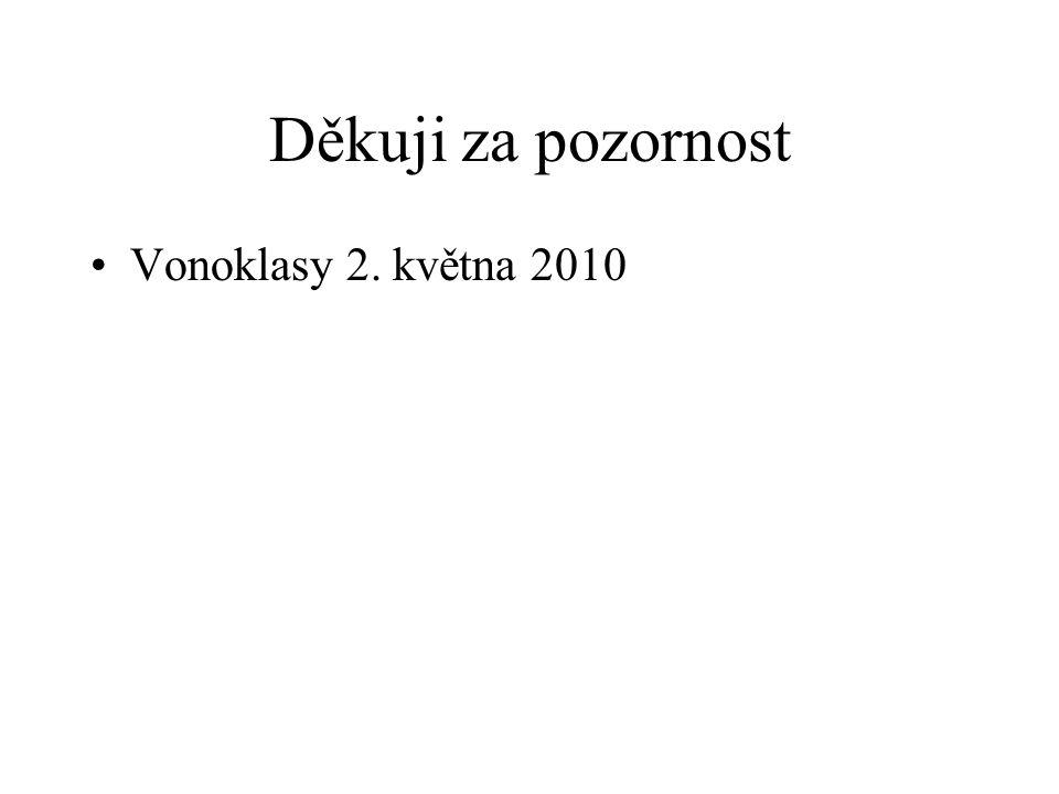 Děkuji za pozornost Vonoklasy 2. května 2010
