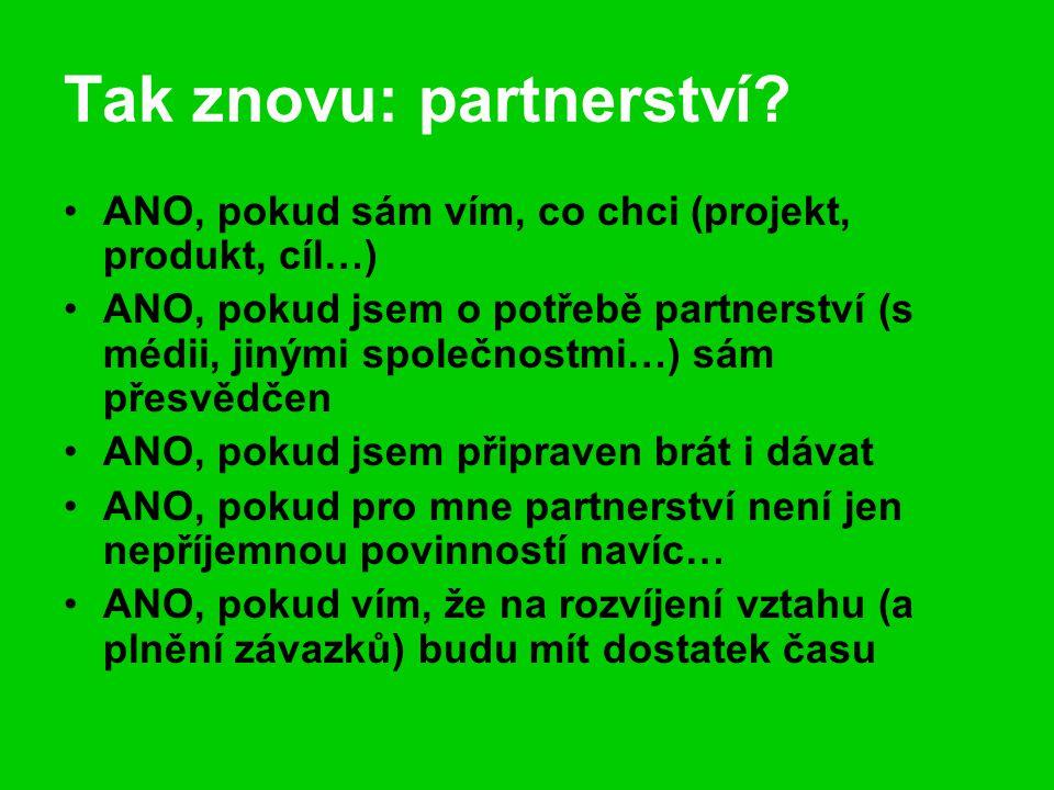 Tak znovu: partnerství? ANO, pokud sám vím, co chci (projekt, produkt, cíl…) ANO, pokud jsem o potřebě partnerství (s médii, jinými společnostmi…) sám