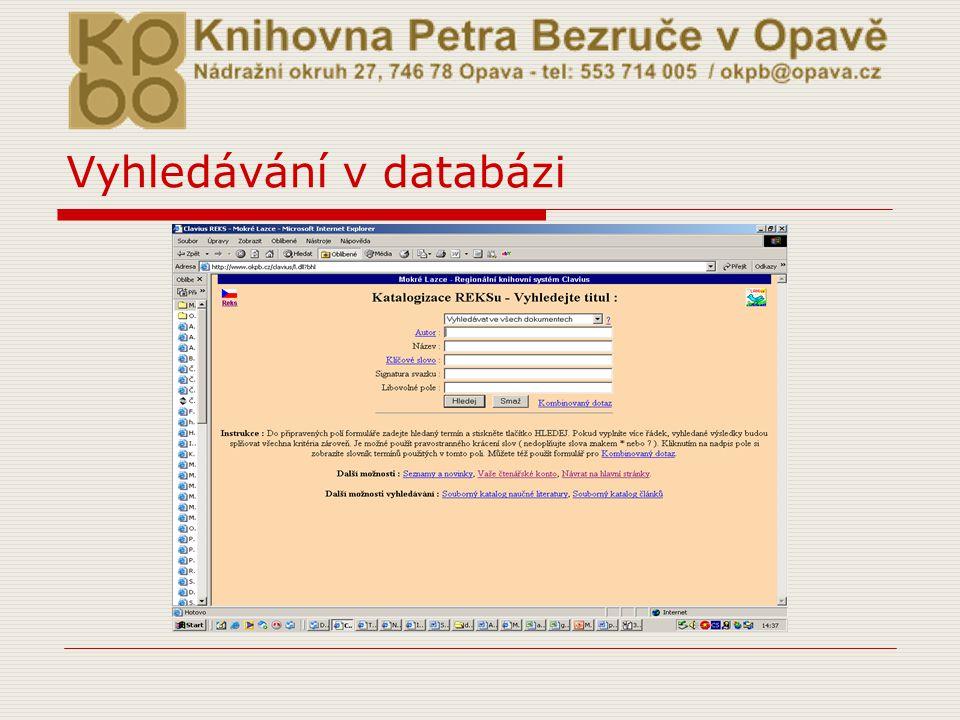 Vyhledávání v databázi