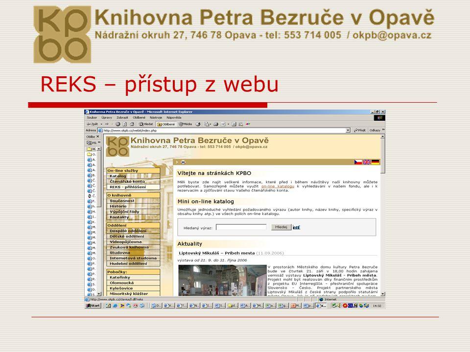 REKS – přístup z webu