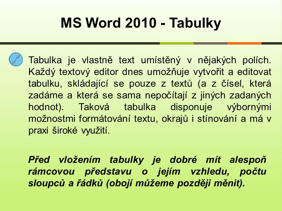 MS Word 2010 - Tabulky Tabulka je vlastně text umístěný v nějakých polích. Každý textový editor dnes umožňuje vytvořit a editovat tabulku, skládající