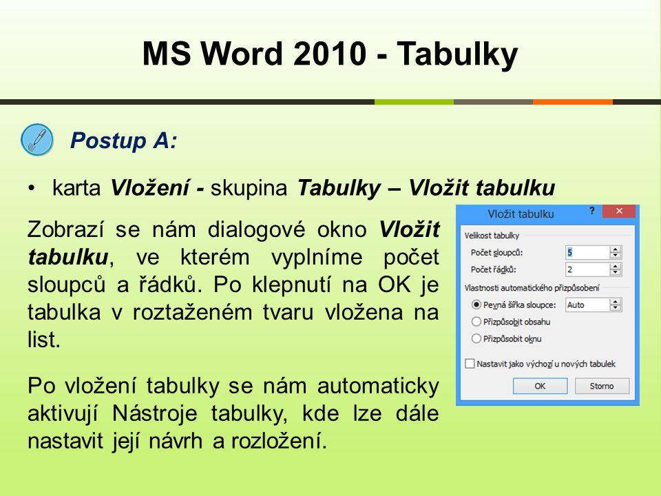 MS Word 2010 - Tabulky Postup A: karta Vložení - skupina Tabulky – Vložit tabulku Zobrazí se nám dialogové okno Vložit tabulku, ve kterém vyplníme poč