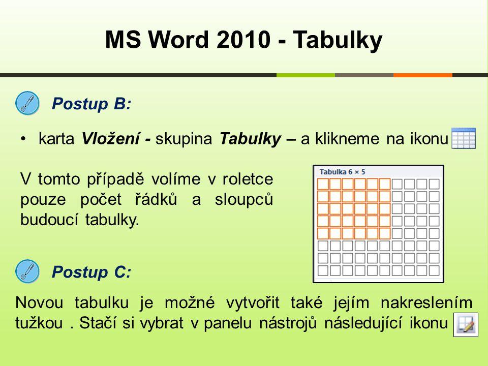 MS Word 2010 - Tabulky Postup B: karta Vložení - skupina Tabulky – a klikneme na ikonu V tomto případě volíme v roletce pouze počet řádků a sloupců bu